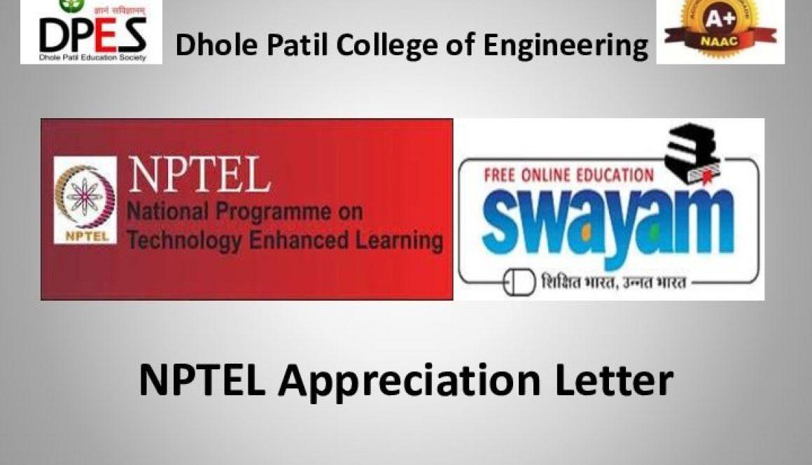 NPTEL Appreciation letter